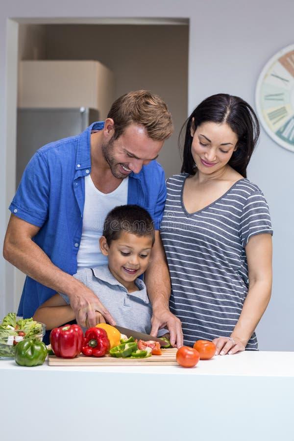 Família feliz na cozinha fotos de stock