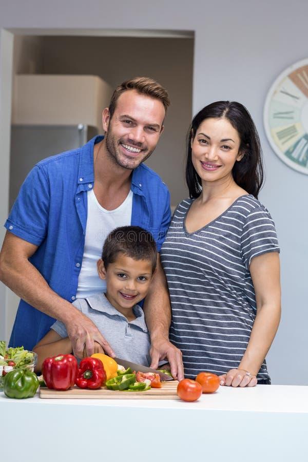 Família feliz na cozinha fotos de stock royalty free