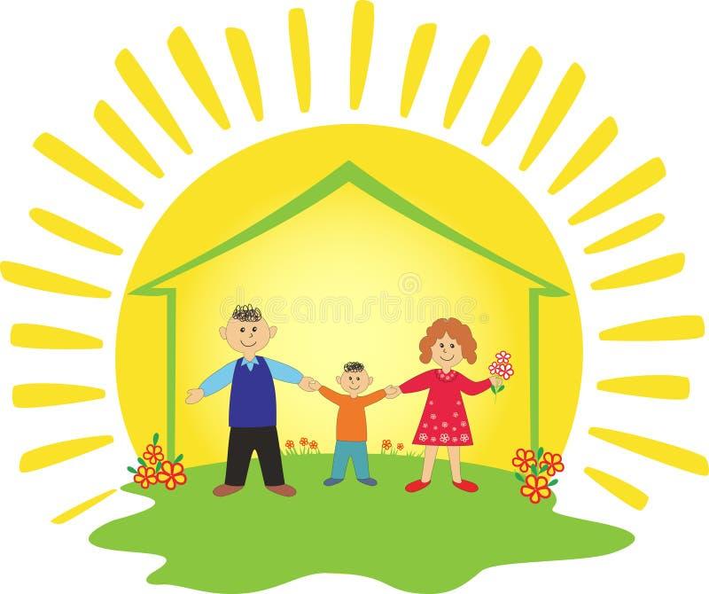 Família feliz na HOME. ilustração royalty free