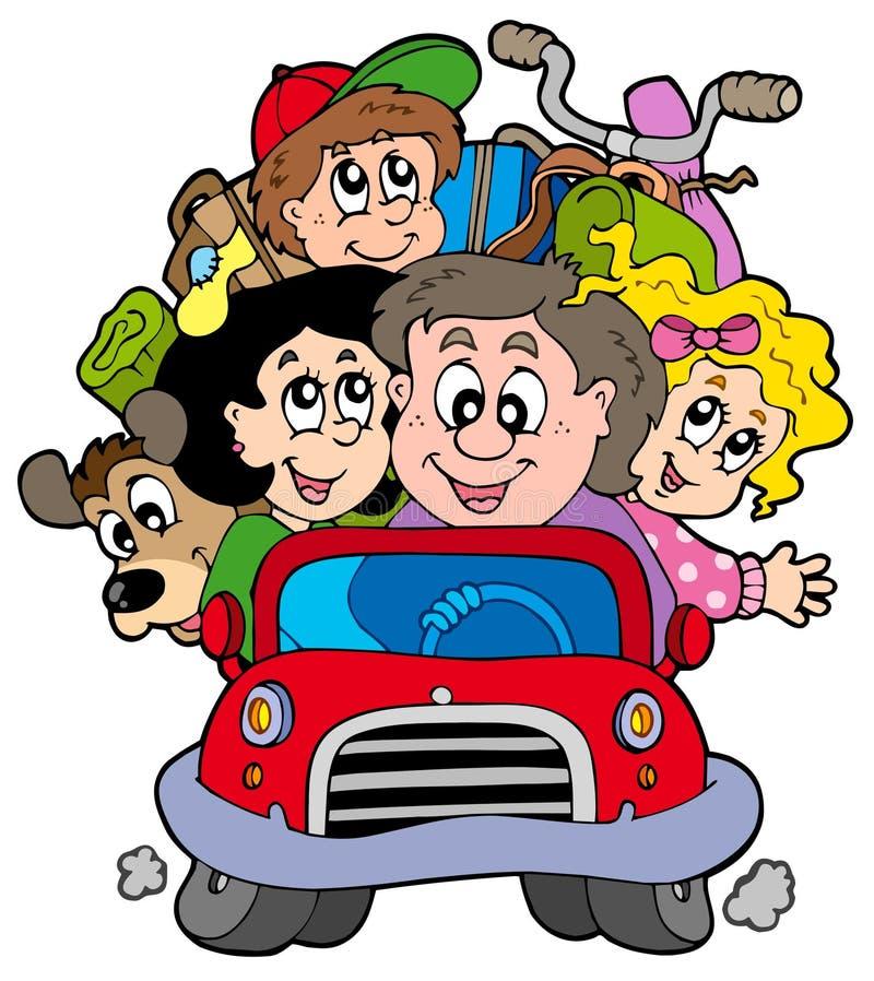 Família feliz no carro em férias ilustração do vetor