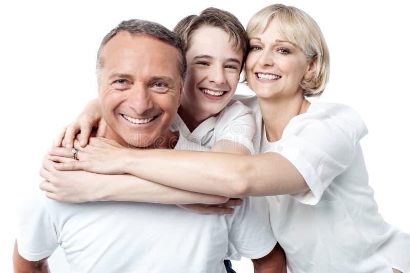 Família feliz no fundo branco imagens de stock