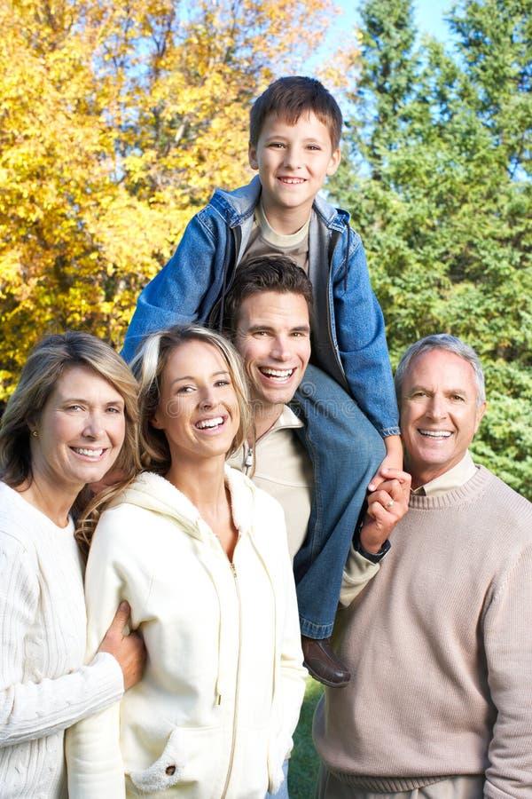 Família feliz no parque imagem de stock royalty free