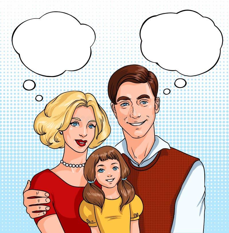 Família feliz pai, mãe e filha com nuvens sadias ilustração do pop art no estilo da banda desenhada ilustração stock