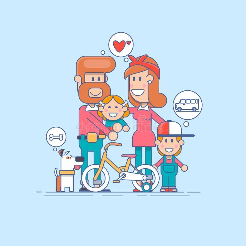 Família feliz Pai, mãe e filho de duas crianças que tem o divertimento e que joga na natureza a criança senta-se nos ombros de se ilustração royalty free