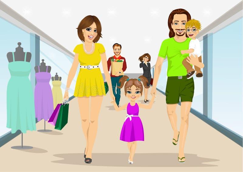 Família feliz que anda com os sacos de compras no supermercado Pais, mãe e pai novos com seus filho e filha ilustração do vetor