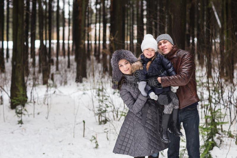 Família feliz que anda em um parque do inverno imagens de stock royalty free
