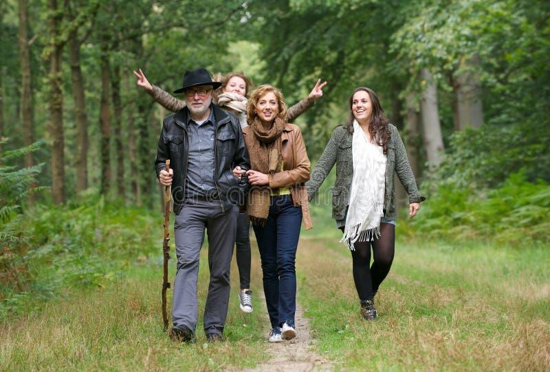 Família feliz que anda nas madeiras foto de stock