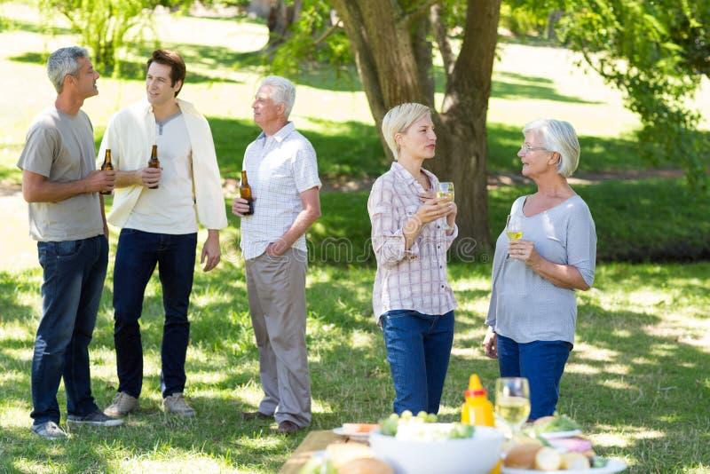 Família feliz que bebe no parque foto de stock