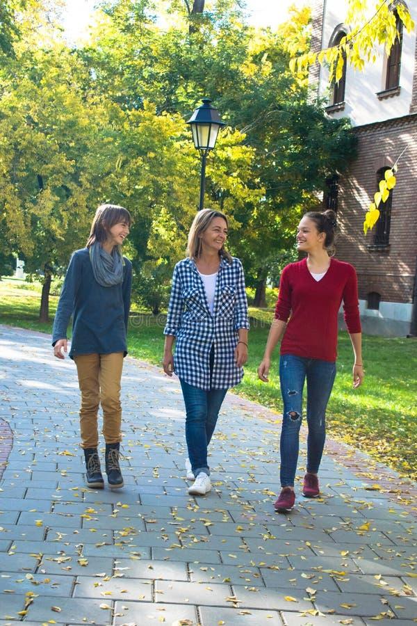 Família feliz que comunica-se ao andar no parque foto de stock royalty free