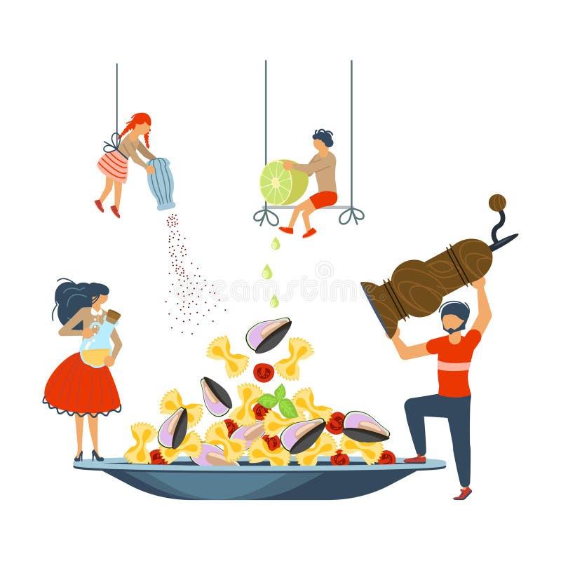 Família feliz que cozinha junto uma massa do marisco ilustração do vetor