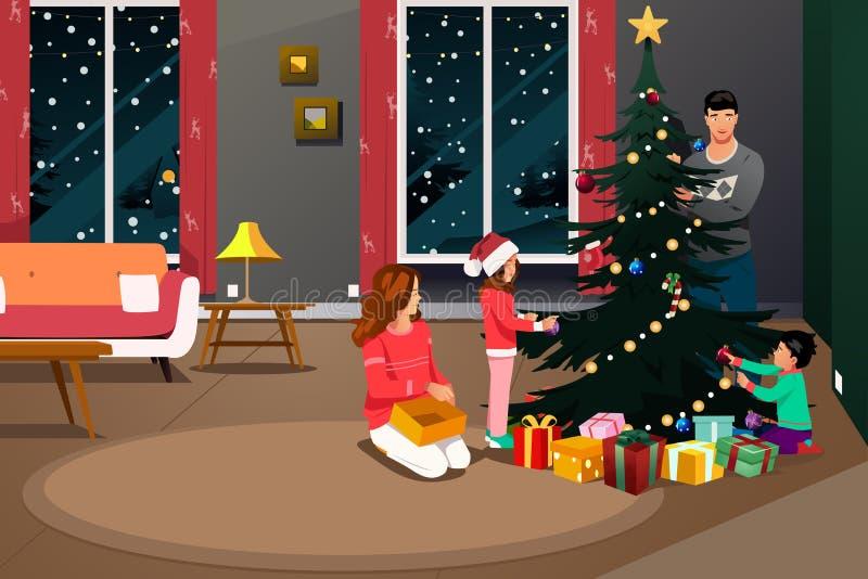 Família feliz que decora a ilustração da árvore de Natal ilustração do vetor