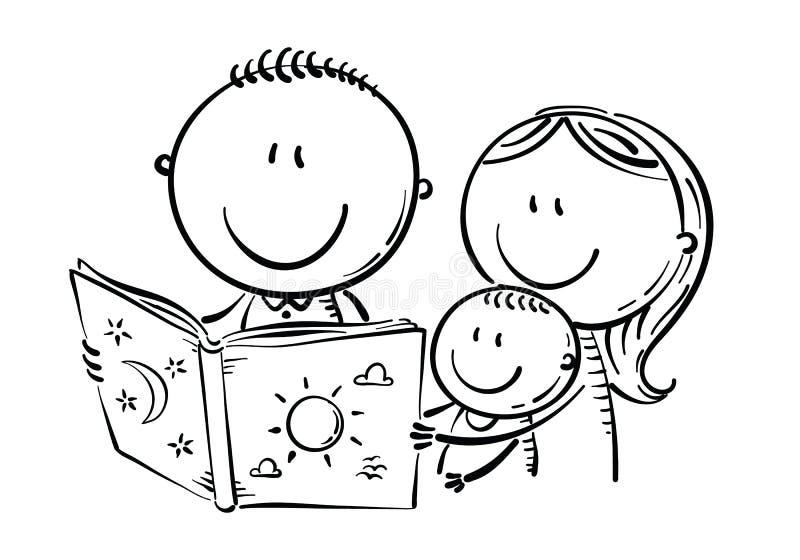 Família feliz que lê um livro junto, preto e branco ilustração stock