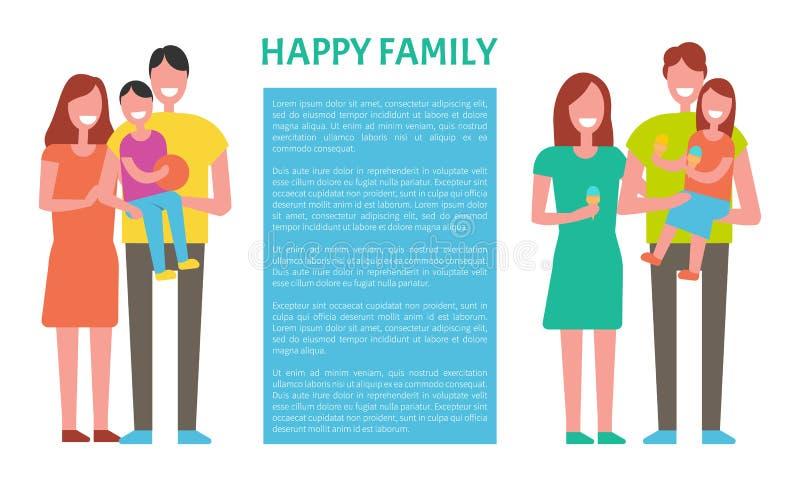 Família feliz que passa o tempo junto Crianças dos pais ilustração stock