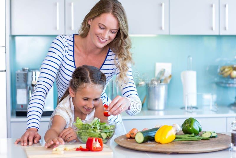 Família feliz que prepara o almoço junto fotos de stock royalty free