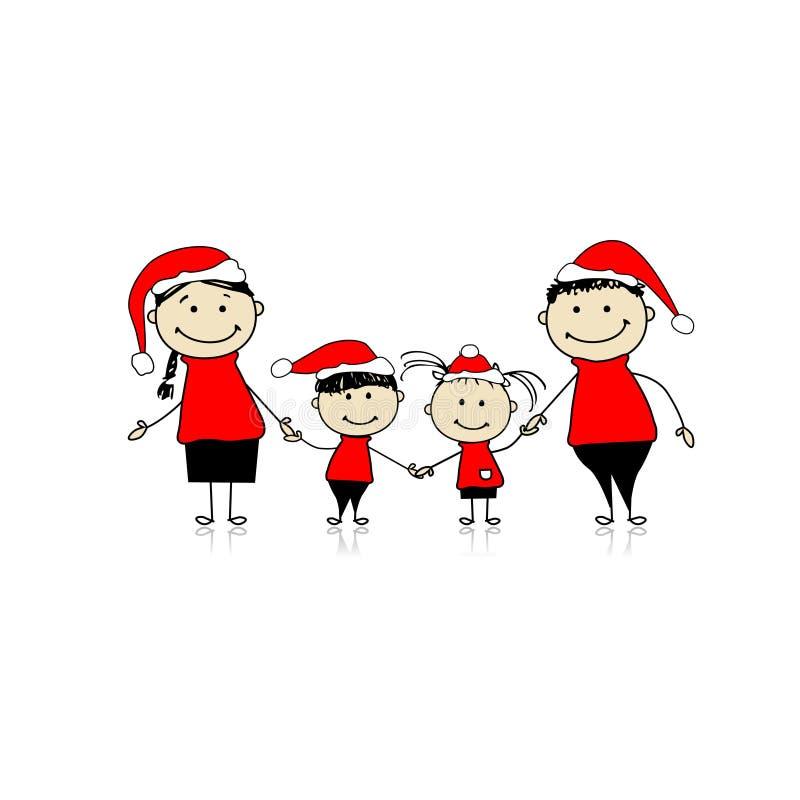 Família feliz que sorri junto, feriado do Natal ilustração do vetor