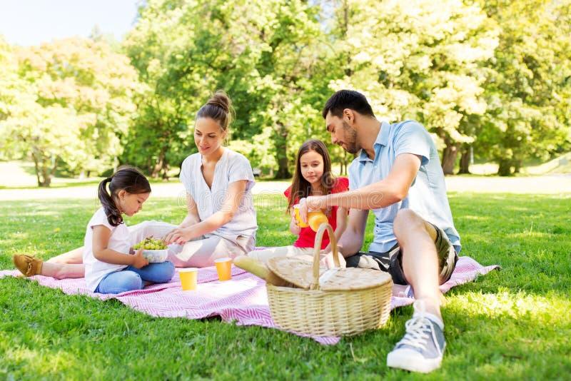 Família feliz que tem o piquenique no parque do verão imagem de stock