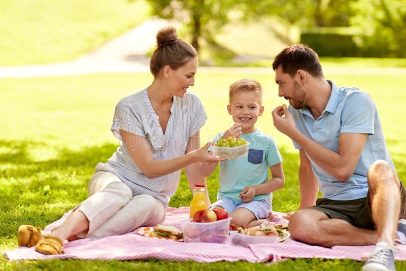 Família feliz que tem o piquenique no parque do verão imagem de stock royalty free