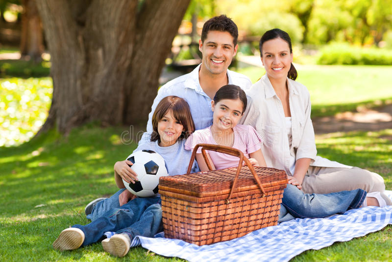 Família feliz que toma parte num piquenique no parque