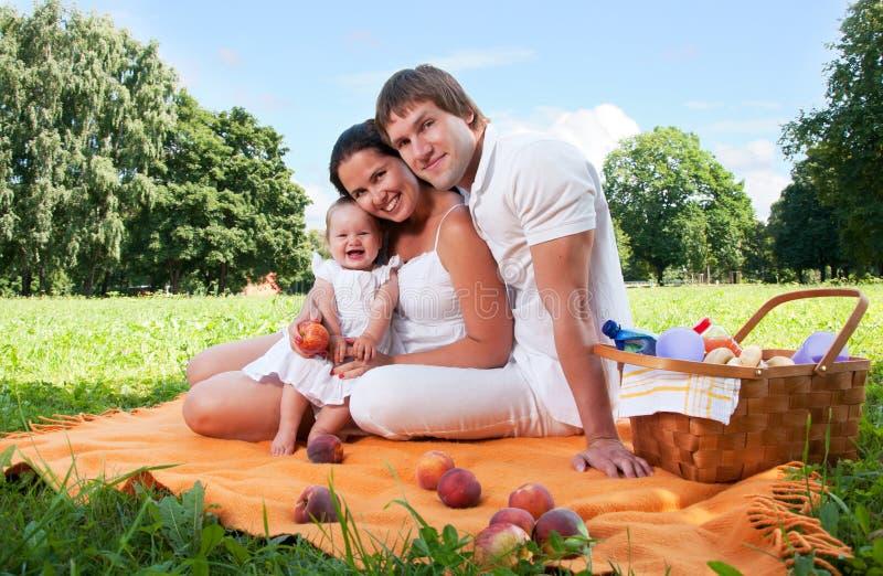 Família feliz que toma parte num piquenique no parque fotografia de stock royalty free