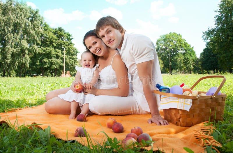 Família feliz que toma parte num piquenique no parque fotos de stock