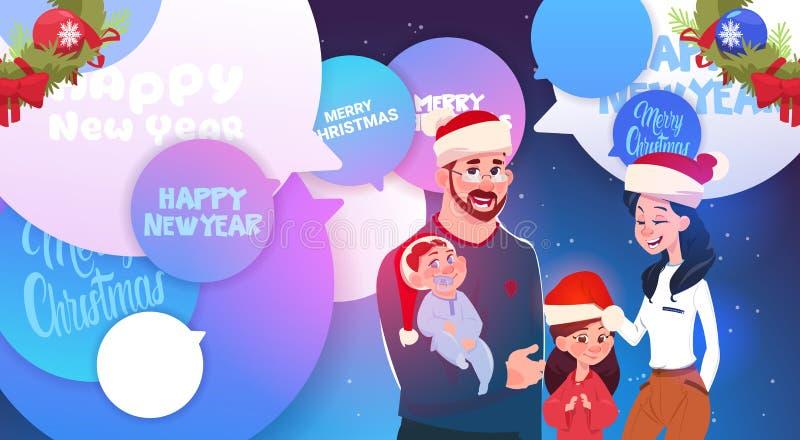 Família feliz que veste Santa Hats Over Merry Christmas e mensagens do ano novo em bolhas do bate-papo ilustração do vetor