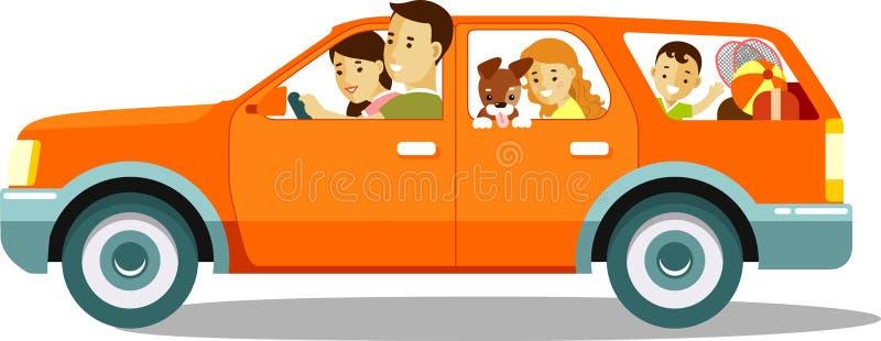 Família feliz que viaja pelo carro ilustração do vetor