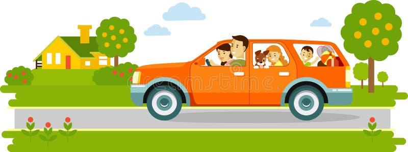 Família feliz que viaja pelo carro no fundo da natureza ilustração stock