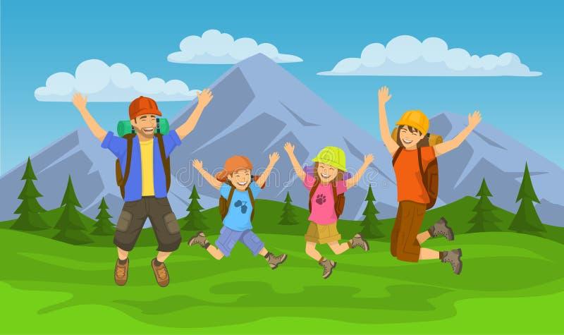 Família feliz, saltando para que a alegria vá acampar ilustração royalty free