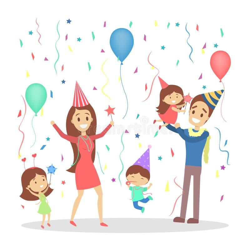 A família feliz tem um partido ilustração stock