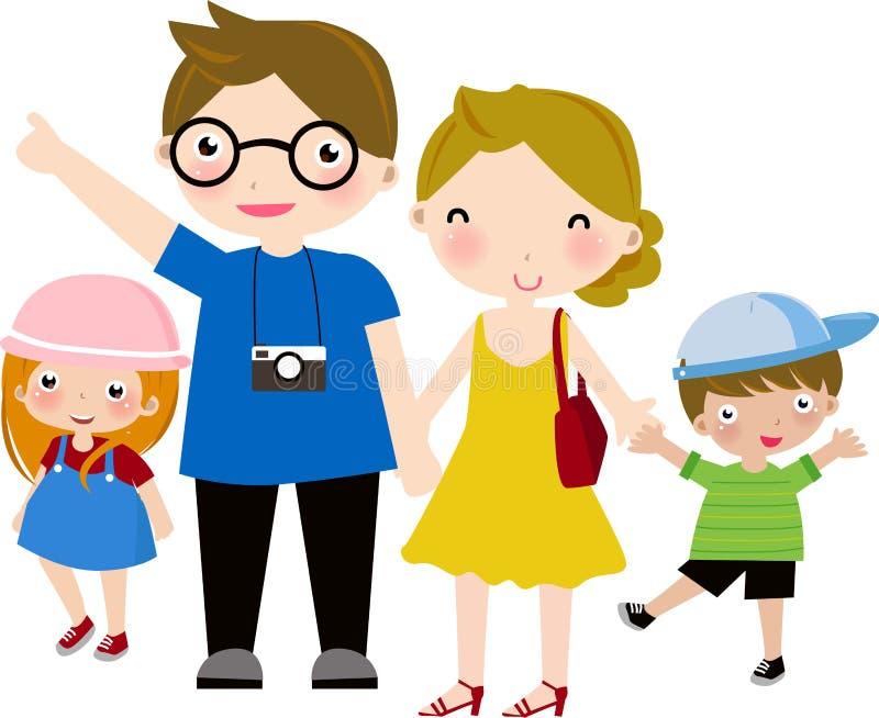 Família feliz a viajar ilustração do vetor