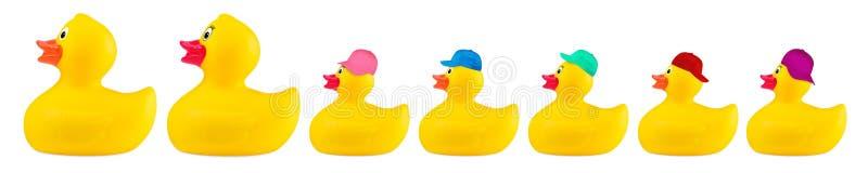 Família fresca do brinquedo de borracha clássico amarelo do pato do banho foto de stock royalty free