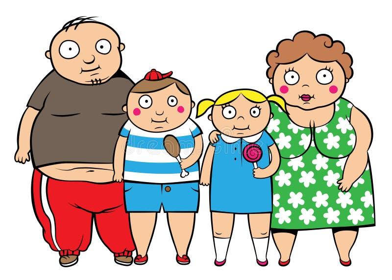 Família gorda do excesso de peso ilustração do vetor