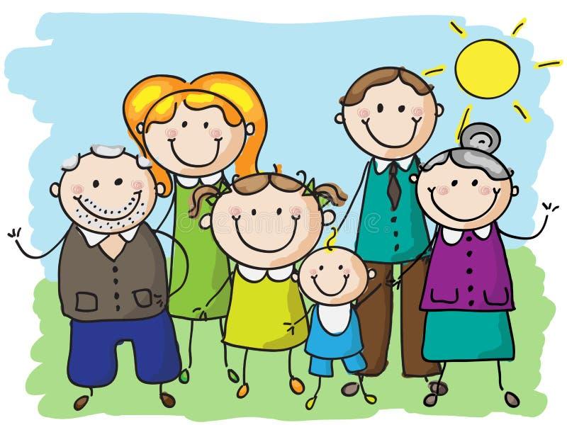 Família grande ilustração royalty free