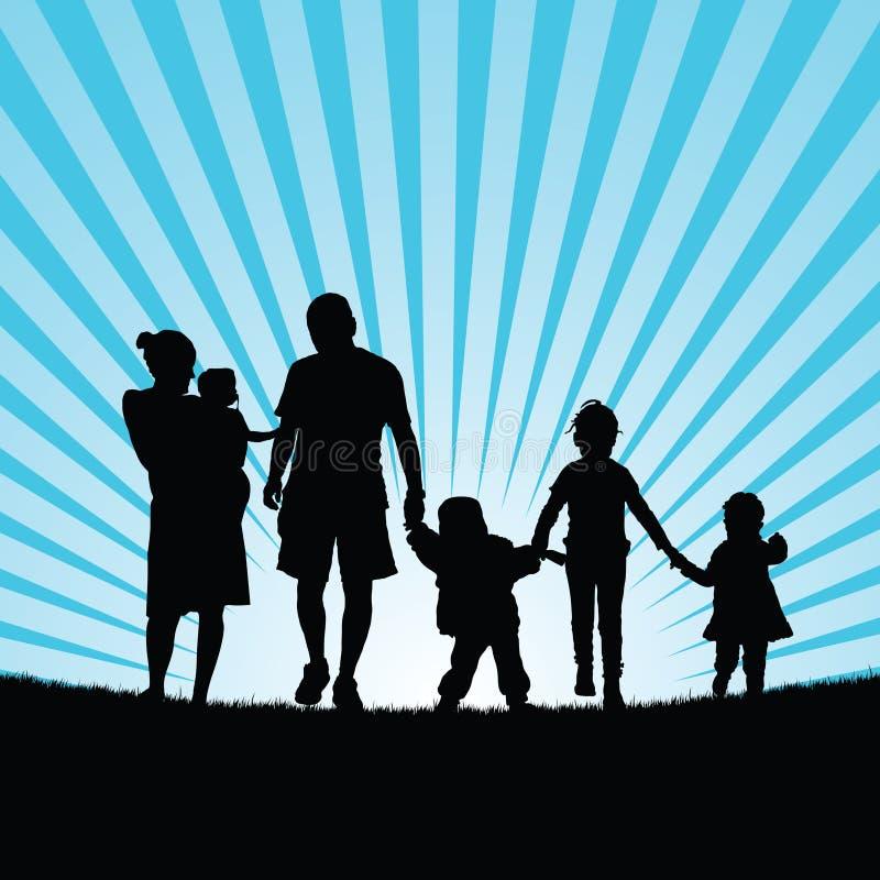 Família grande com as crianças que andam na silhueta da natureza da beleza ilustração do vetor