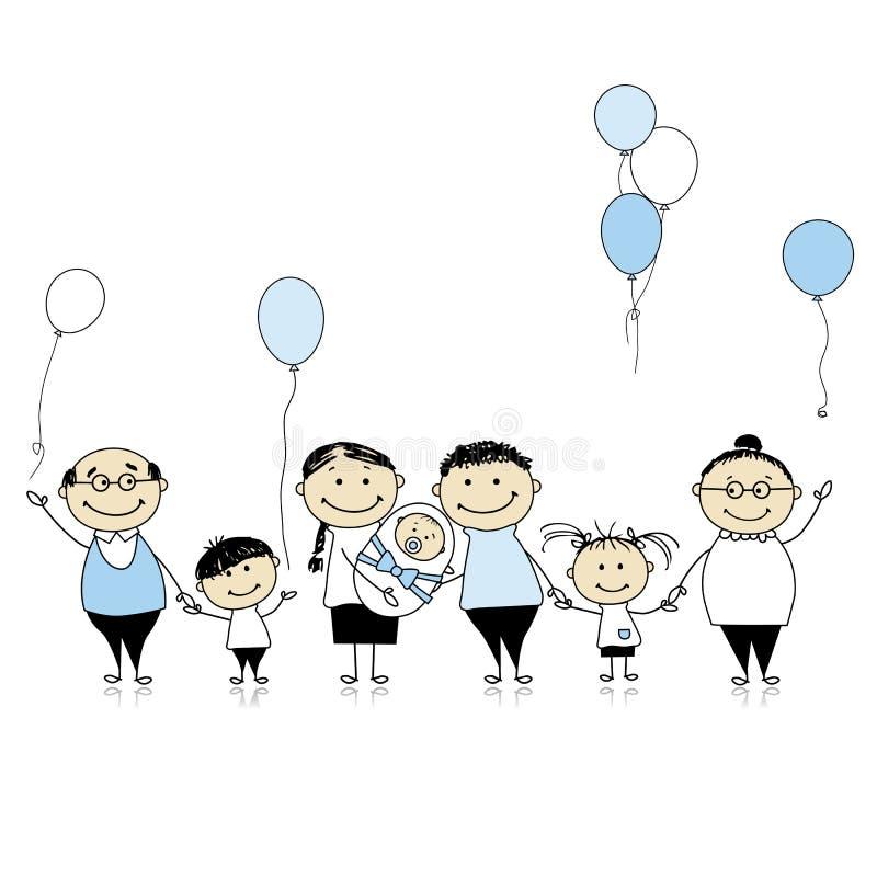 Família grande com crianças, bebê recém-nascido ilustração royalty free