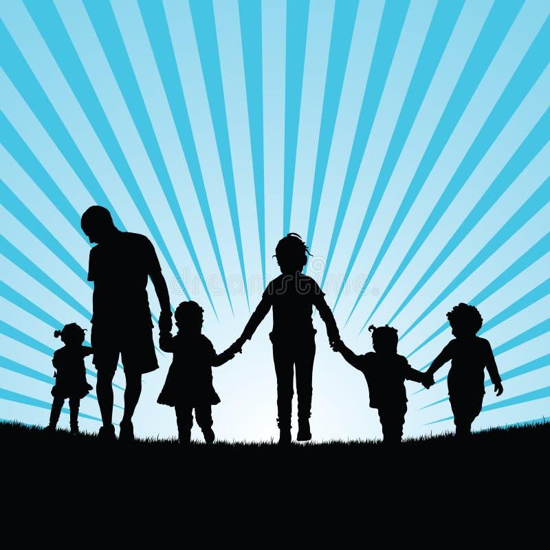 Família grande com o enjou das crianças no illust da cor da silhueta da natureza ilustração royalty free