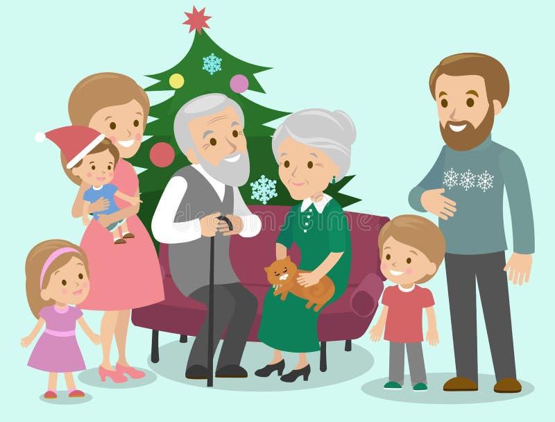 A família grande comemora o Natal Árvore extravagante Vetor ilustração royalty free