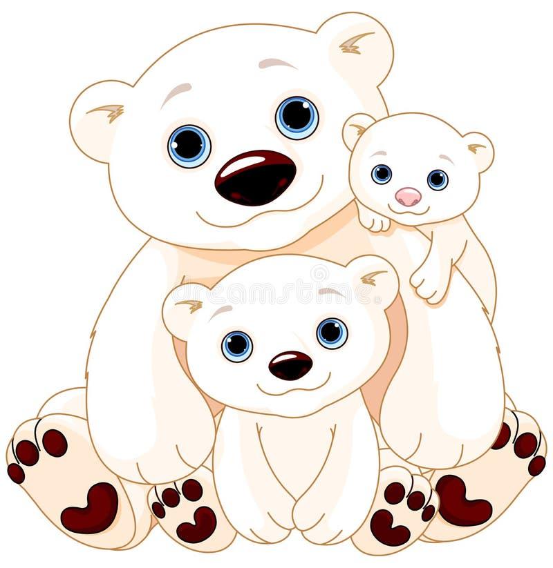 Família grande do urso polar ilustração stock