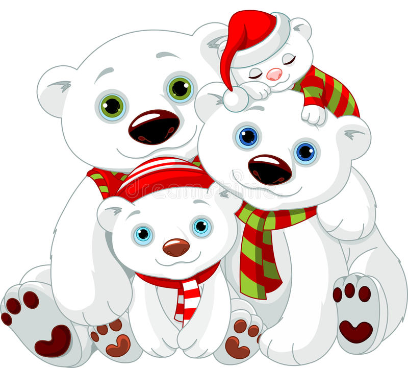 Família grande do urso polar no Natal ilustração royalty free