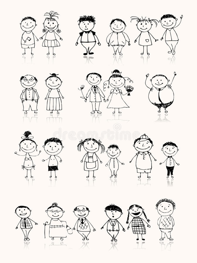 Família grande feliz que sorri junto, esboço desenhando ilustração stock