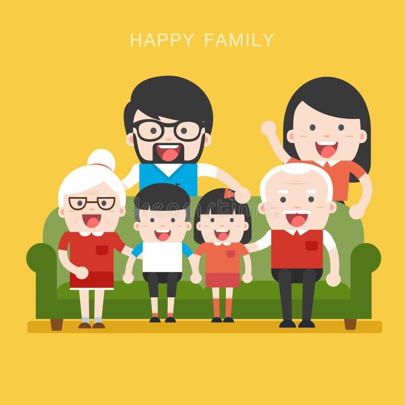 Família grande Grandchildrens felizes do whith da família ilustração royalty free