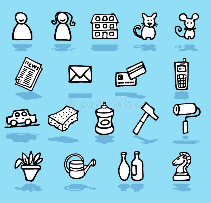 Família, HOME, ícones dos adultos ajustados ilustração stock