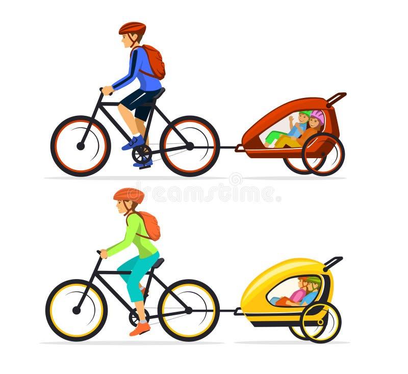 Família, homem e mulher com seu seu ciclismo de viagem das crianças junto com reboques das crianças ilustração stock