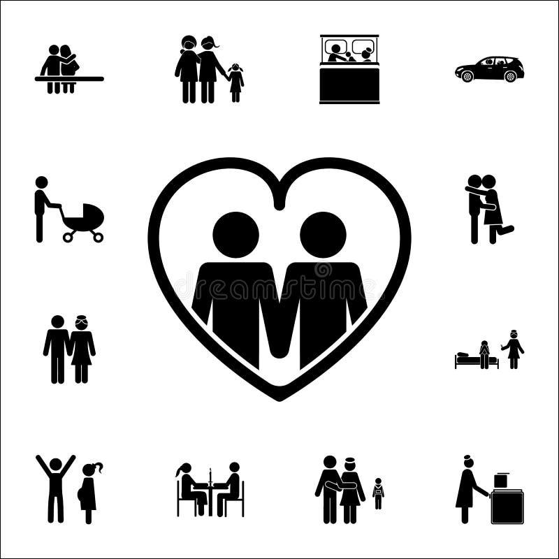 família homossexual no ícone do coração Grupo detalhado de ícones da família Sinal superior do projeto gráfico da qualidade Um do ilustração do vetor
