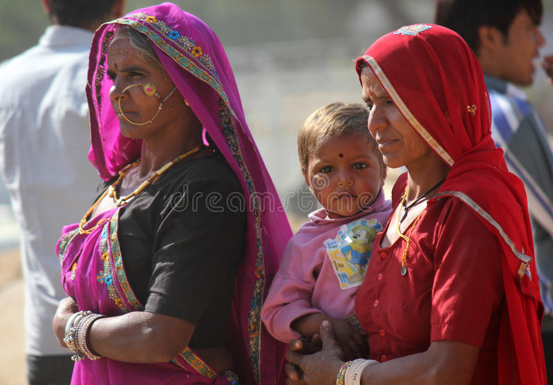 Família indiana em Pushkar justo fotografia de stock