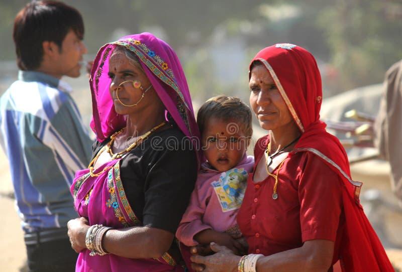 Família indiana em Pushkar justo fotos de stock royalty free