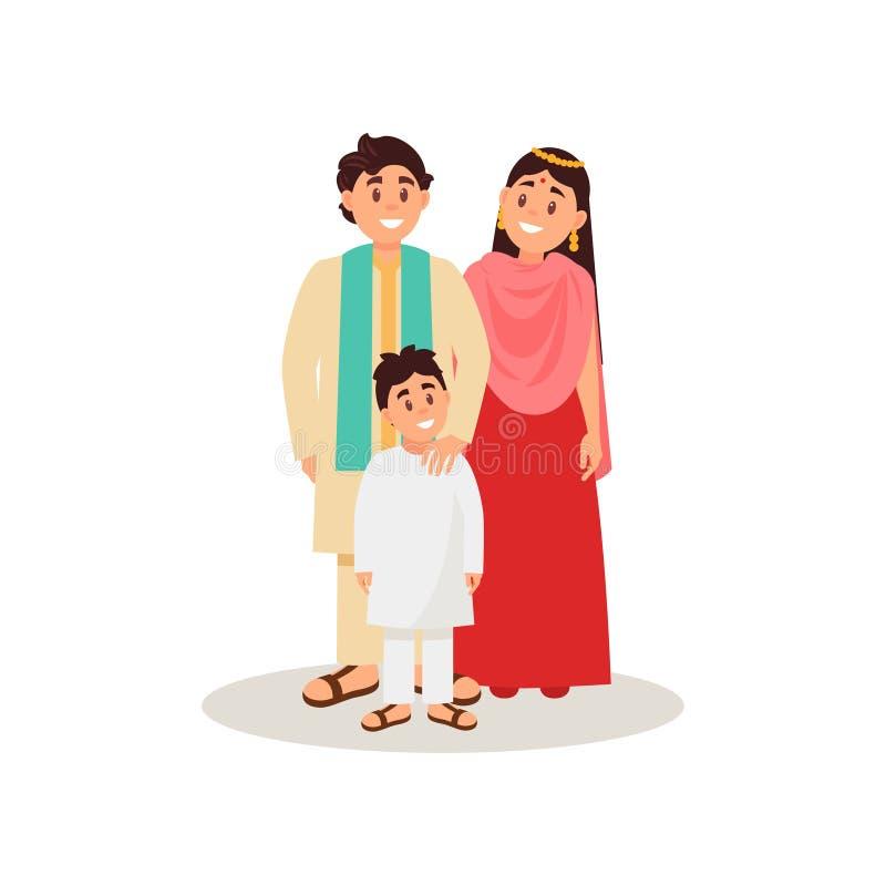 Família indiana na roupa nacional, ilustração feliz do vetor do conceito de família em um fundo branco ilustração royalty free