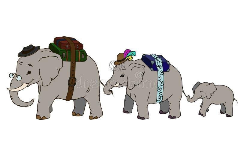Família inteira do elefante da ilustração adorável dos desenhos animados ilustração stock
