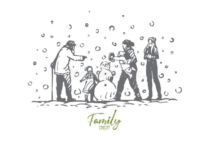 Família, inverno, boneco de neve, pessoa, conceito da infância Vetor isolado tirado m?o ilustração stock