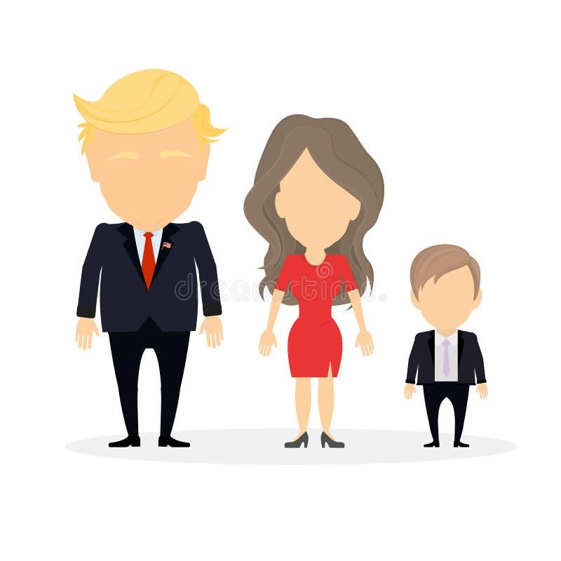 Família isolada do trunfo ilustração royalty free